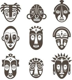 """the royalty-free vector """"African masks set"""" designed by Marina Zlochin at the lowest price on . Browse our cheap image bank online to find the perfect stock vector for your marketing projects! Kitsune Maske, African Symbols, African Tattoo, Art Du Monde, Afrique Art, Mask Drawing, Art Africain, Masks Art, Afro Art"""