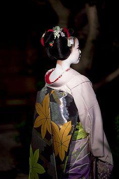 Maiko (apprentice geisha) Ayano 彩乃 for Obi lover  View On Black