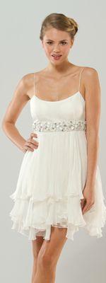 $358.00  MIGNON 2011 Wedding Dresses - Fun And Flirty White Beaded Empire Destination Dress With Ruffled Hem