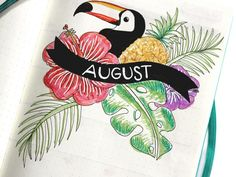 This month I went #tropical! August Bullet Journal Cover Page | The Blushing Pineapple