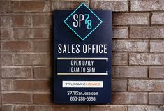 by Trumark Homes Signage 10 Sales Office, Signage, New Homes, Home Decor, Decoration Home, Room Decor, Billboard, Signs, Interior Decorating