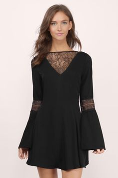 Designed by Tobi. The Flirt Around Lace Dress features a plunging mesh front neckline and back key hole. With slight bell shaped sleeves and a figure flattering silhouette. Perfect to wear with chunky heels. Prom Dresses With Sleeves, Dresses For Sale, Shift Dresses, Sleeve Dresses, Red Skater Dress, Skater Skirts, Dress Skirt, Lace Dress, Black Dress Outfits