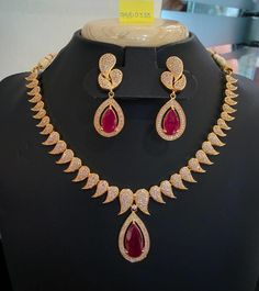 Gold Plated Designer Ruby Necklace Sets, Designer Ruby Necklace Designs.