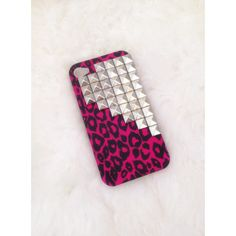 Hot pink leopard silver pyramid studded iphone 4/4S case :) ($15) ❤ liked on Polyvore