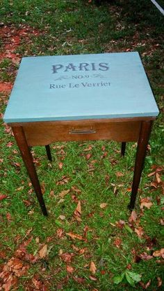 Another sewing cabinet turned entry way table with a French inspired stencil