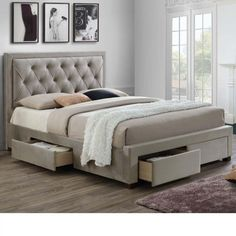 Woodbury Warm Stone Fabric 4 Drawer Storage Bed Frame – King Size - Bed and Bedcover Bed Frame With Storage, Under Bed Storage, King Size Storage Bed, King Size Bed Frame, Storage Beds, Wooden King Size Bed, Bed Designs With Storage, Double Beds, Baby Tips