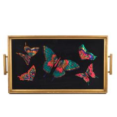 Vintage 1930s Wood Handle Reverse Painted Butterflies Cocktail Tray available at The Hour and TheHourShop.com