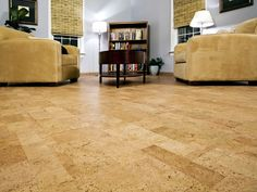 The sound-absorbing and easy to clean properties of cork flooring are perfect for a family room.