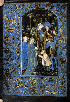 Sv. Marta ~ St. Martha; Vzkříšení Lazara; Kniha hodinek, 1480, Belgium, Brugy; The Morgan Library & Museum