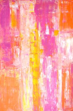 Large Acrylic Abstract Art Painting Yellow White by T30Gallery, $156.00