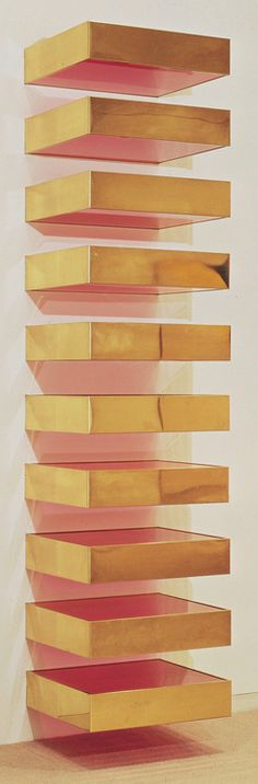 untitled, 1969 - donald judd  Brass and colored fluorescent Plexiglas on steel brackets