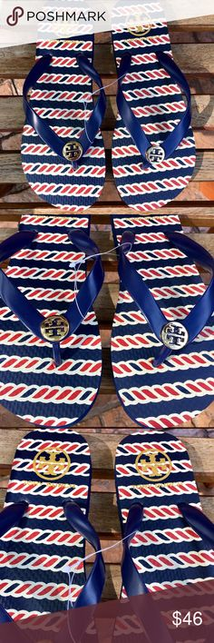 NEW! Tory Burch Flipflops NWT! Time to show off that pedi with these adorable brand new Tory Burch Flipflops. Super cute nautical rope design with a light gold-tone hardware. Tory Burch Shoes Sandals