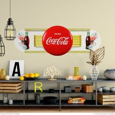 Vintage advertising inspired this art deco style wall decor. Can be applied to walls, cabinets and more. Available in and 60 inch sizes. Officially licensed and made in the USA. Retro Living Rooms, Living Room Decor, Wall Stickers, Wall Decals, Wall Art, Coca Cola Decor, Wall Borders, Office Decor, Art Deco