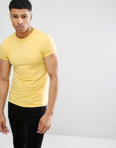 ASOS Muscle T-Shirt With Roll Sleeve In Yellow