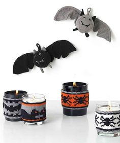 Free Knitting Patterns for Bat Toy and Halloween Candle Cozies Halloween Knitting Patterns, Knitting Patterns Free, Free Knitting, Knitting Projects, Baby Knitting, Knitting Ideas, Halloween Candles, Halloween Ornaments, Halloween Decorations