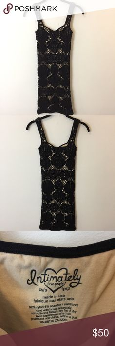 Free People Intimately Black Netted Floral Dress Cute Bodycon dress with black and nude colors. In good condition used and is a size small/extra small Free People Dresses