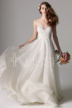 Watters Bridal Kai Gown Style A Modern Twist On Classic Shape An Line Of Fern Lace Details And Washed Silk Organza With Straps That Seem To Float