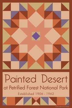 Painted Desert National Park Quilt Block designed by Susan Davis. Susan is the owner of Olde America Antiques and American Quilt Blocks She has created unique quilt block designs to celebrate the National Park Service Centennial in 2016. These are the first quilt blocks designed specifically for America's national parks and are new to the quilting hobby.