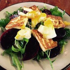 "Fresh and flavorful salad. A Haloumi Beetroot salad served with egg. Tasty and ""semi-light"". #lunchtime #eateryhermanus #beetroot #summerysalad #greenandpurple"