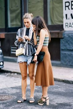 Skirt: vanessa jackman, blogger, slide shoes, striped shirt, streetstyle, distressed denim shorts, midi skirt, rust, thick heel, chanel bag, spring outfits - Wheretoget