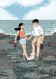 A cartoon illustrator, myeongminho that capture the everyday colors. Cute Couple Drawings, Anime Couples Drawings, Cute Couple Art, Cute Couple Pictures, Cute Drawings, Pencil Drawings, Couple Amour Anime, Anime Love Couple, Couple Cartoon