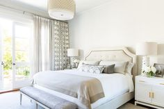 White and tan bedroom