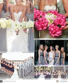 Gray wedding with the pop of color in the bouquets! Love this idea.