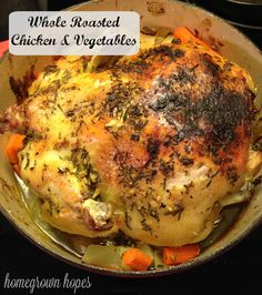 (Paleo: Sub butter with olive oil.) This dutch oven recipe for whole roasted chicken and vegetables is so delicious that you will quickly be adding it to your holiday menu & so simple that you can cook it on any busy weeknight! Dutch Oven Whole Chicken, Whole Chicken Recipes Oven, Oven Roasted Whole Chicken, Whole Roast Chicken Recipe, Roast Chicken Recipes, Chicken Meals, Healthy Chicken, Fried Chicken, Healthy Food