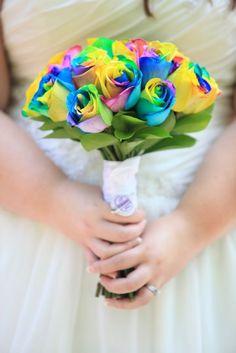 Wedding bouquet- Rainbow Roses- Bridal Bouquet - pageant bouquet style