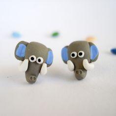 クレイ製ピアス/Elephant by Inês Fonseca