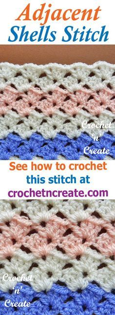 Stitch tutorial, free instructions for adjacent shells stitch, use for baby items, blankets, throws, cushion covers etc
