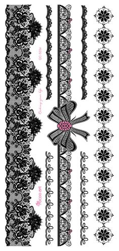 QC-503 20X10cm Hanna Style Water Transfer Tattoo Sticker Women's Black Lace Butterfly Bride Temporary Flash Fake Tattoo Stickers