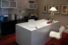: Attractive Ornaments And White Chairs In The Contemporary Home Office With White Desk And Black File Cabinets