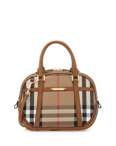 Burberry Check Canvas Satchel Bag, Brown Ochre  #NMshoelove #NMhandbags