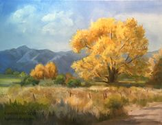 California landscape Oil painting of Cottonwood trees in Owens Valley, Sierra. Autumn color contemporary landscape art by impressionist Karen Winters Impressionist Landscape, Watercolor Landscape, Landscape Art, Landscape Paintings, Autumn Painting, Modern Landscaping, Original Paintings, Oil Paintings, Painted Rocks