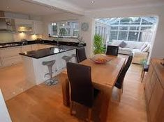 22 + The Rule for Open Plan Kitchen Dining Living Small Ideas - targetinspira Small Open Plan Kitchens, Open Plan Kitchen Dining Living, Kitchen Diner Extension, Open Plan Kitchen Diner, Kitchen Layout, Kitchen Family Rooms, Living Room Kitchen, Kitchen Decor, Kitchen Ideas