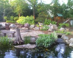 Backyard pond, patio and playground for the kids.