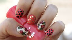 Black dots, gold dots and outlined flowers. So happy with this mani. :) - Imgur