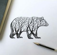 * I like the use of the bear to be the border of the trees.