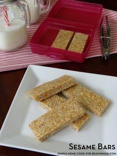 Sesame Bar Recipe (nut-free variation too) Sesame Recipes, Nut Recipes, Sweet Recipes, Healthy Meals For Kids, Kids Meals, Yummy Treats, Sweet Treats, Muesli Bars, Healthy Recipes