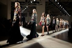Mary Katrantzou's collection at LFW featuring beautiful hand Embroidery from Hand and Lock