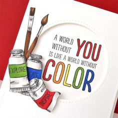 Ellen Hutson, LLC features Design Studio Clear Stamps, Color My World. Colorful Drawings, Cute Drawings, File Decoration Ideas, Light Bulb Art, Canvas Art Quotes, Watercolor Paintings For Beginners, Creative Poster Design, Artist Quotes, Card Making Inspiration