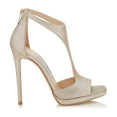 On SALE at 30% OFF! Lana 120 champagne metallic mini print leather t-bar sandals by Jimmy Choo. This simple and sexy T-Bar sandal provides a hint of glamour to take you from day to evening. Leather lined, with a l...