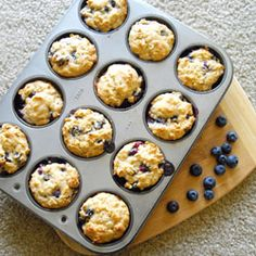 Whole Wheat Blueberry Muffins. High in protein and fiber for a healthy breakfast!