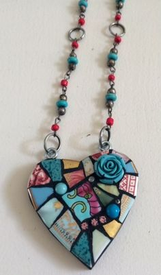 Mosaic Heart Necklace Aqua Rose by mosaiccottage on Etsy