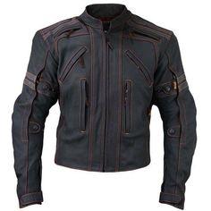Mens Black Biker Leather Jacket with Orange Stitching