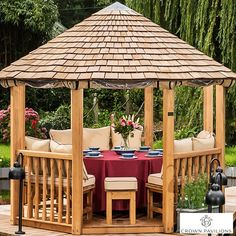 Installed Crown Pavilions Guinevere x x European Redwood Octagonal Gazebo + Dining Set (Seats Wooden Gazebo, Wooden Garden, Pvc Windows, Blinds For Windows, Roof Cladding, Octagon Table, Gazebo Tent, Instant Canopy, Garden Pavilion