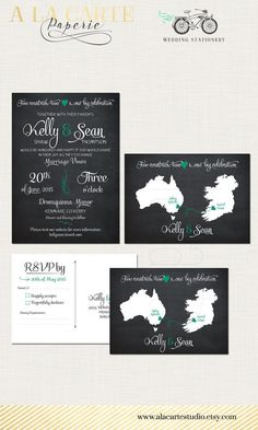 Two Countries Ireland Wedding Invitation Etsy