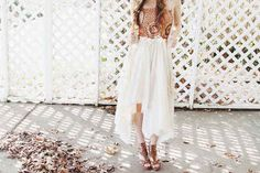 No Sew Skirt   DIY (another option for boho inspired high-low skirt, if able to find fabric large enough)