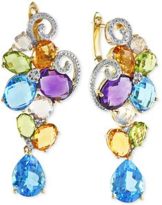 Mosaic by EFFY Diamond (1/5 ct. t.w.) and Multicolor Cluster Earrings in 14k Gold
